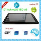 "10"" inch epad MID built-in 3G&Camera Cortex A8 android 2.2 MOULTI TOUCH 512MB FALSH10.1 tablet pc"