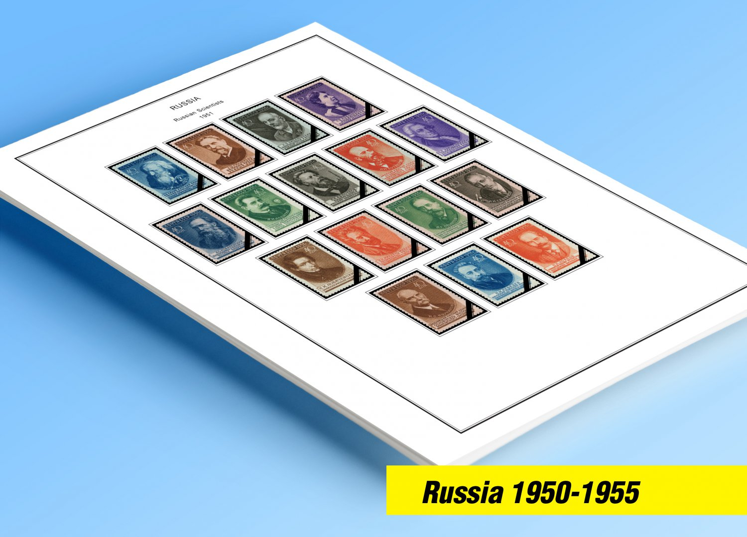 COLOR PRINTED RUSSIA 1950-1955 STAMP ALBUM PAGES (45 illustrated pages)