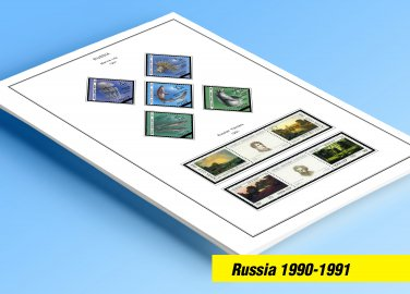 COLOR PRINTED RUSSIA 1990-1991 STAMP ALBUM PAGES (31 illustrated pages)