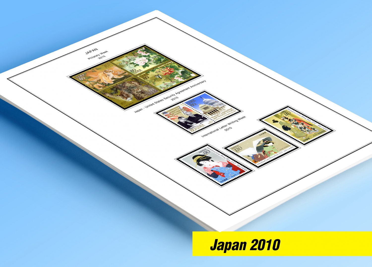 COLOR PRINTED JAPAN 2010 STAMP ALBUM PAGES (42 illustrated pages)