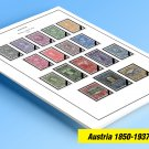 COLOR PRINTED AUSTRIA 1850-1937 STAMP ALBUM  PAGES (53 illustrated pages)