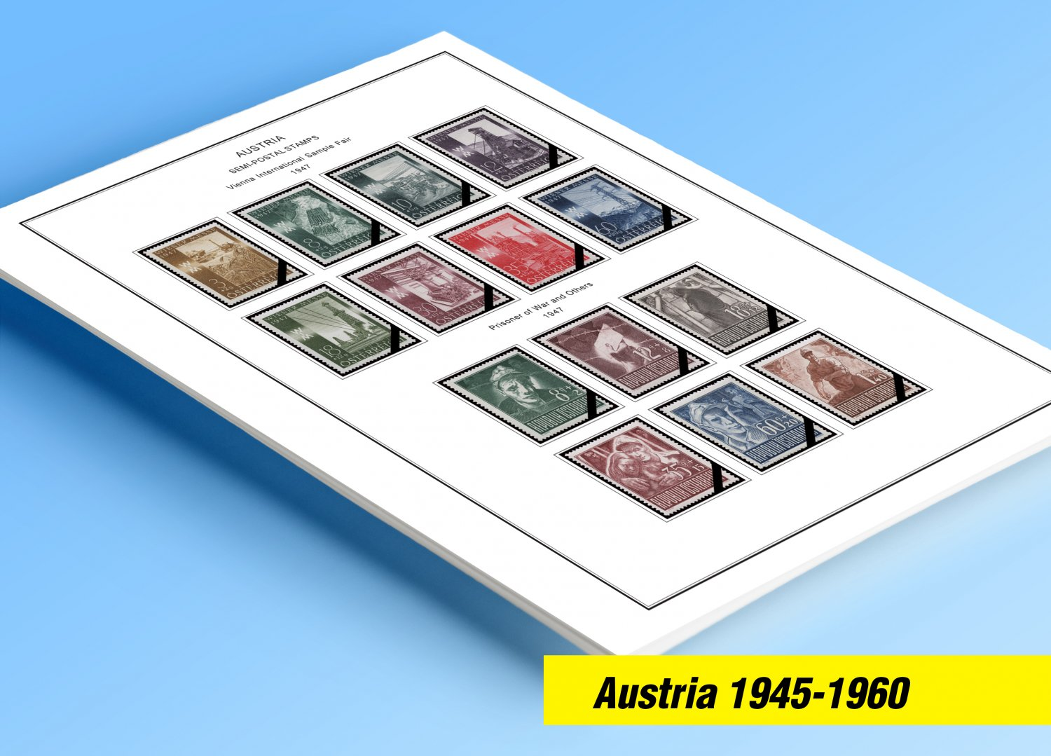 COLOR PRINTED AUSTRIA 1945-1960 STAMP ALBUM PAGES (40 illustrated pages)