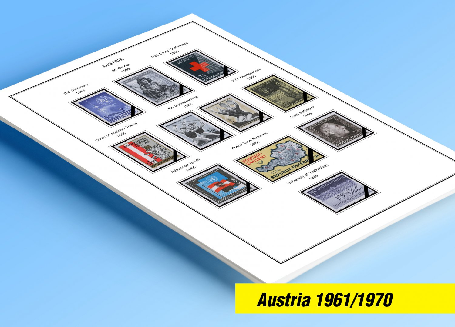 COLOR PRINTED AUSTRIA 1961-1970 STAMP ALBUM PAGES (25 illustrated pages)