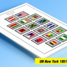 COLOR PRINTED UNITED NATIONS - NEW YORK OFFICES 1951-1982 STAMP ALBUM PAGES (43 illustrated pages)