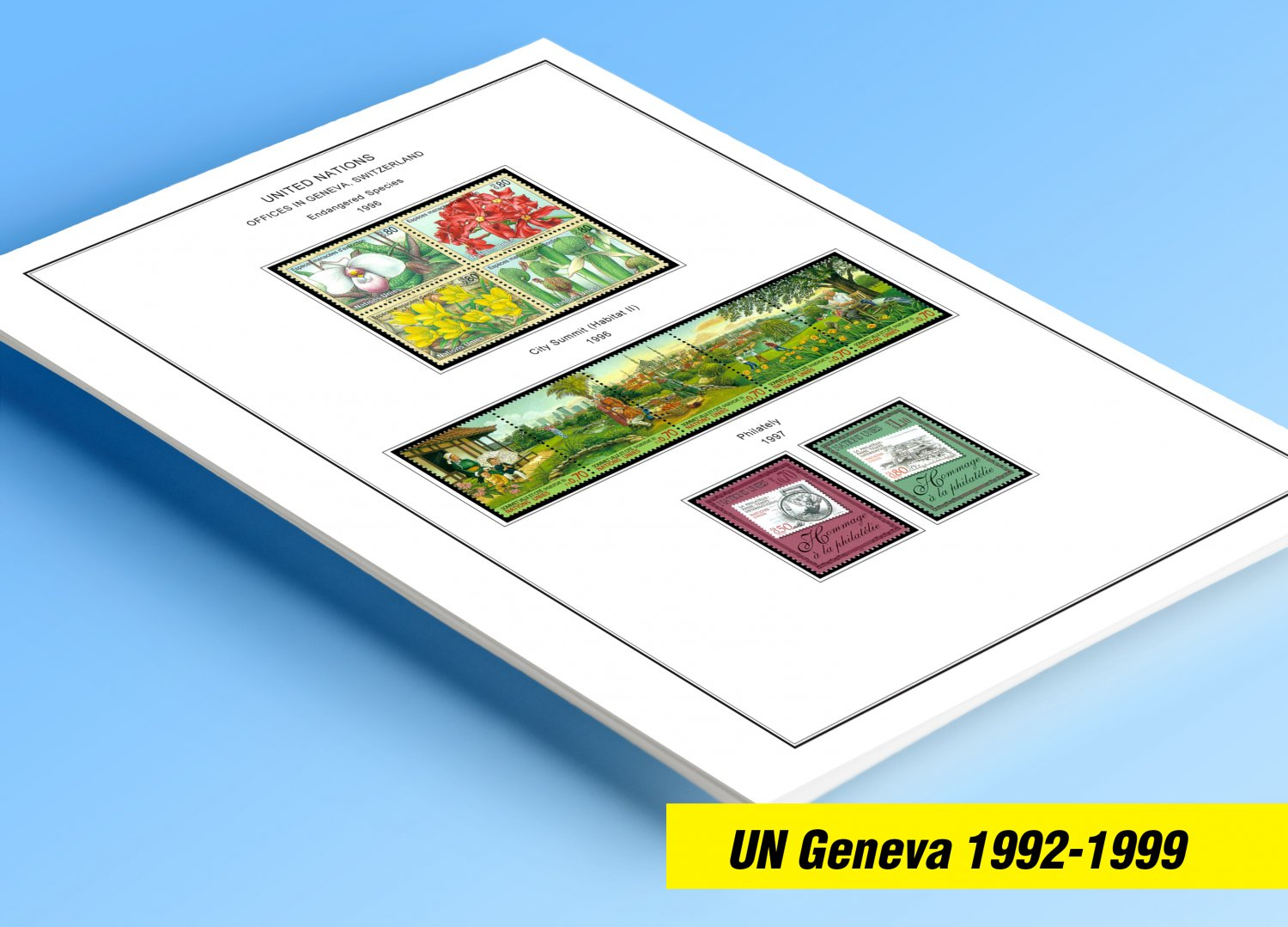 COLOR PRINTED UNITED NATIONS - GENEVA OFFICES 1992-1999 STAMP ALBUM PAGES (30 illustrated pages)