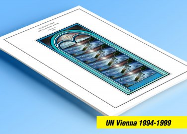 COLOR PRINTED UNITED NATIONS - VIENNA OFFICES 1949-1999 STAMP ALBUM PAGES (23 illustrated pages)