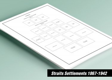 PRINTED  STRAITS SETTLEMENTS 1867-1942 STAMP ALBUM PAGES (17 pages)