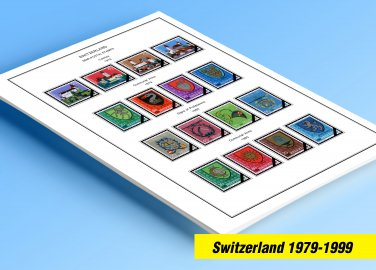 COLOR PRINTED SWITZERLAND 1979-1999 STAMP ALBUM PAGES (54 illustrated pages)