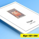 COLOR PRINTED NIGER 1921-1944 STAMP ALBUM PAGES (14 illustrated pages)
