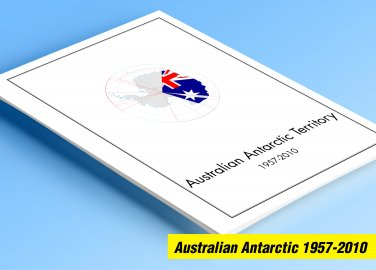 AUSTRALIAN ANTARCTIC TERRITORY 1957-2010 COLOR PRINTED STAMP ALBUM PAGES  (23 illustrated pages)