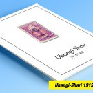 COLOR PRINTED UBANGI-SHARI 1915-1930 STAMP ALBUM PAGES (6 illustrated pages)