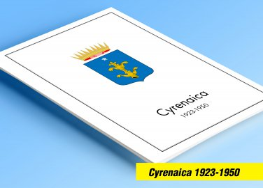 COLOR PRINTED CYRENAICA 1923-1950 STAMP ALBUM PAGES (15 illustrated pages)