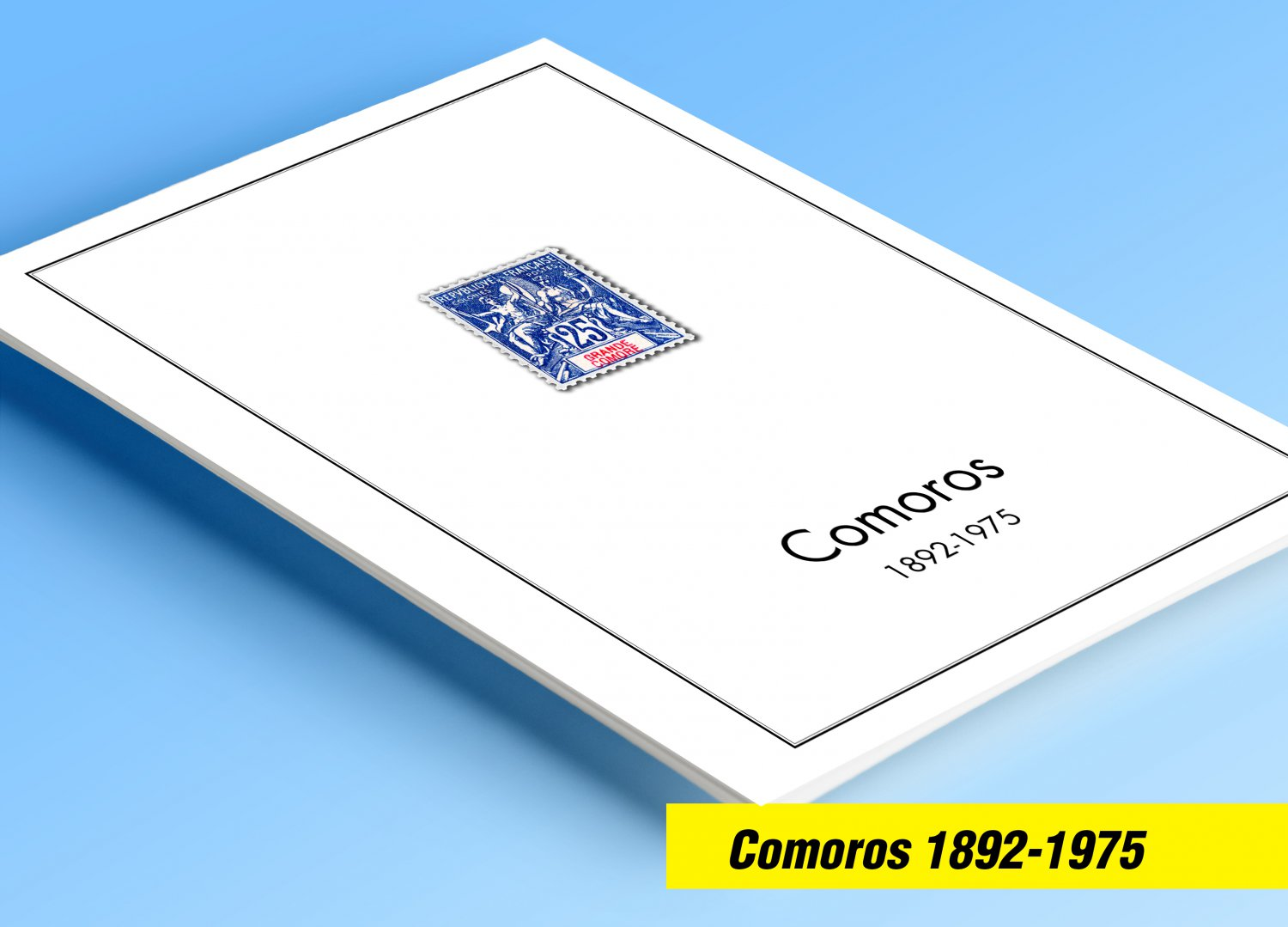 COLOR PRINTED COMOROS 1892-1975 STAMP ALBUM PAGES (25 illustrated pages)