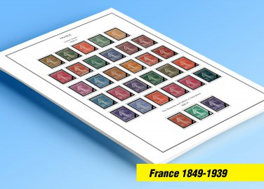 COLOR PRINTED FRANCE 1849-1939 STAMP ALBUM PAGES (29 illustrated pages)