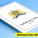 COLOR PRINTED NETHERLANDS INDIES 1864-1949 STAMP ALBUM PAGES (34 illustrated pages)
