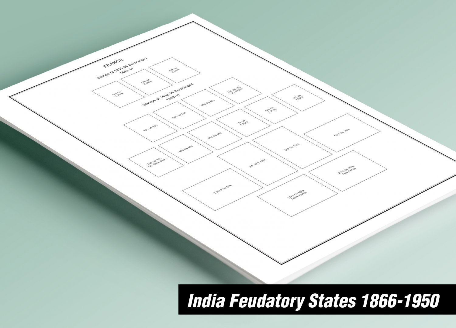 PRINTED INDIA FEUDATORY STATES 1866-1950 STAMP ALBUM PAGES (55 pages)
