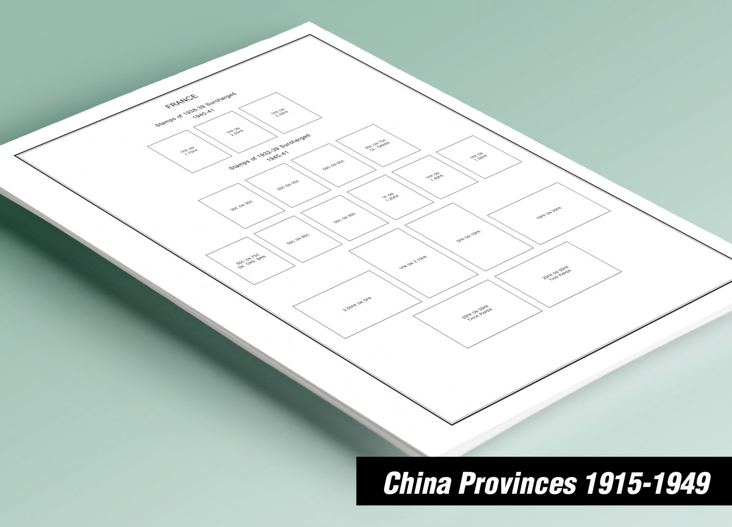 PRINTED CHINA PROVINCES 1915-1949 STAMP ALBUM PAGES  (36 pages)