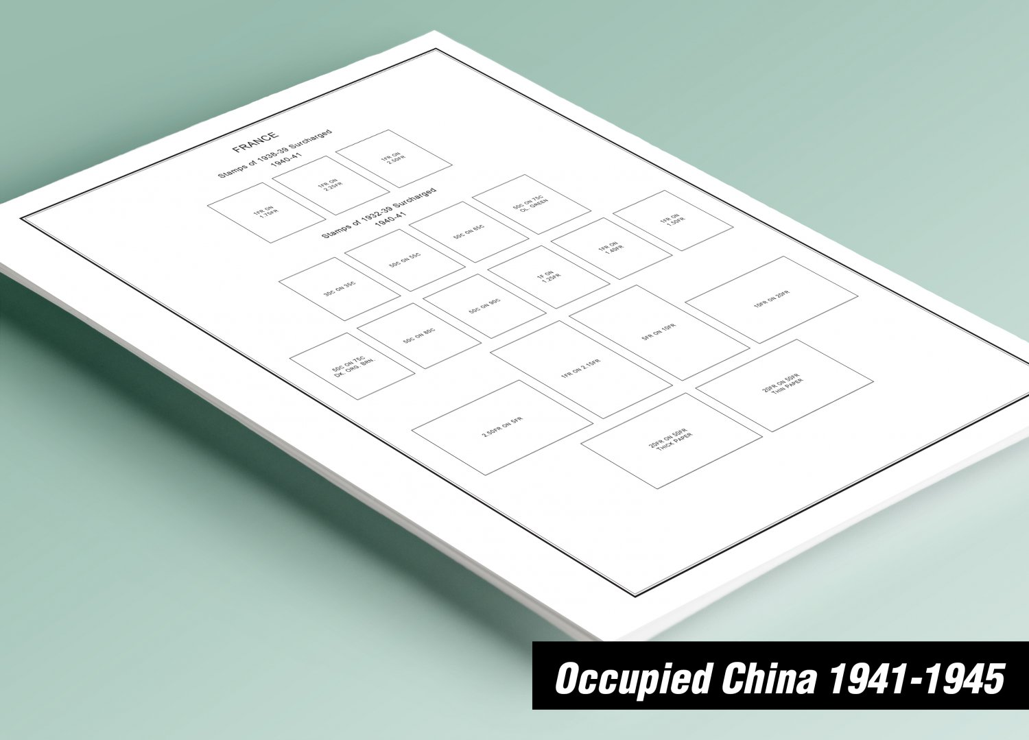 PRINTED CHINA JAPANESE OCCUPATION 1941-1945 STAMP ALBUM PAGES (60 pages)