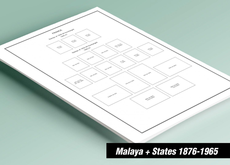 PRINTED MALAYA + MALAYA STATES 1876-1965 STAMP ALBUM PAGES (100 pages)