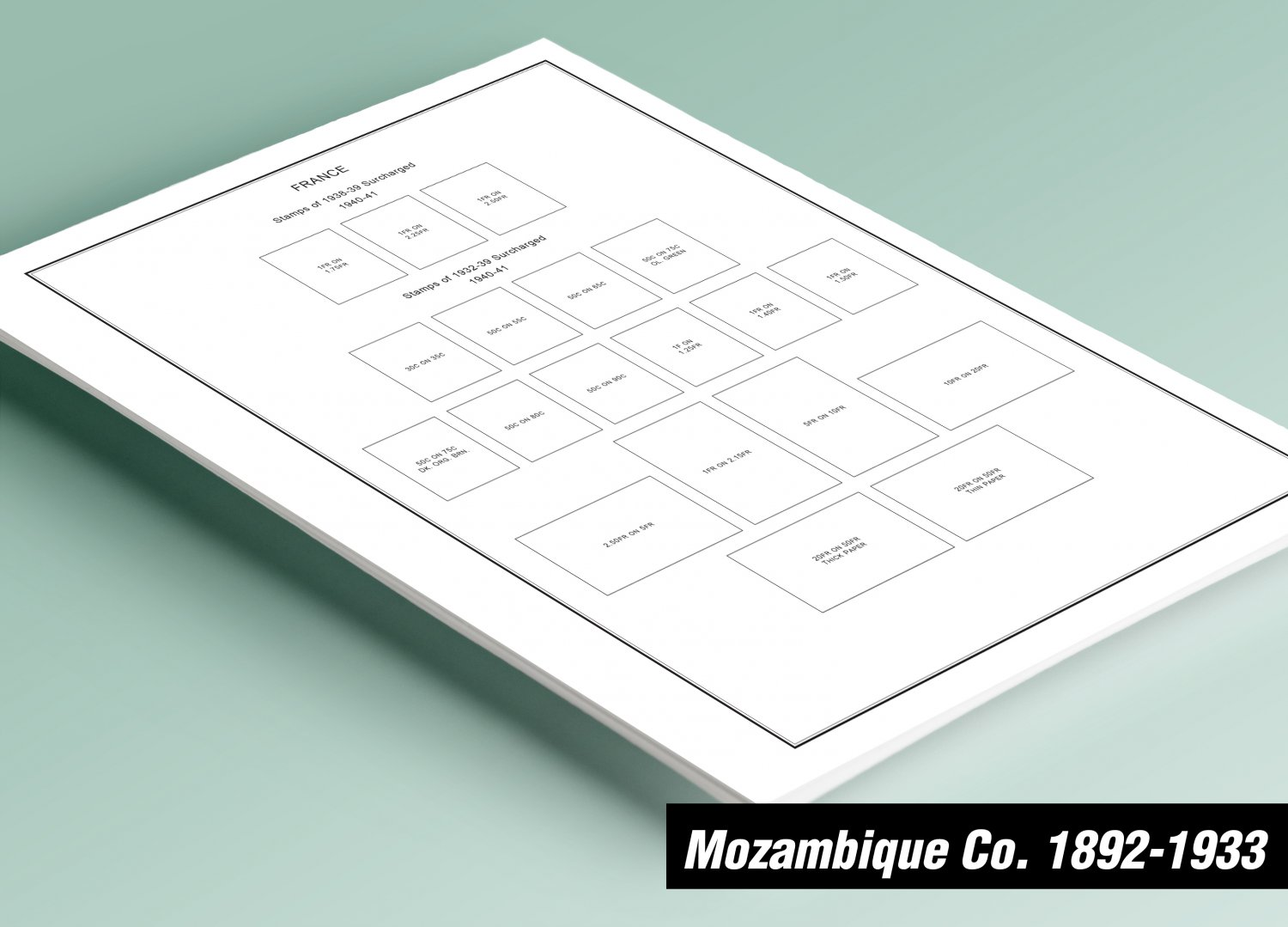 PRINTED MOZAMBIQUE COMPANY 1892-1933 STAMP ALBUM PAGES (18 pages)