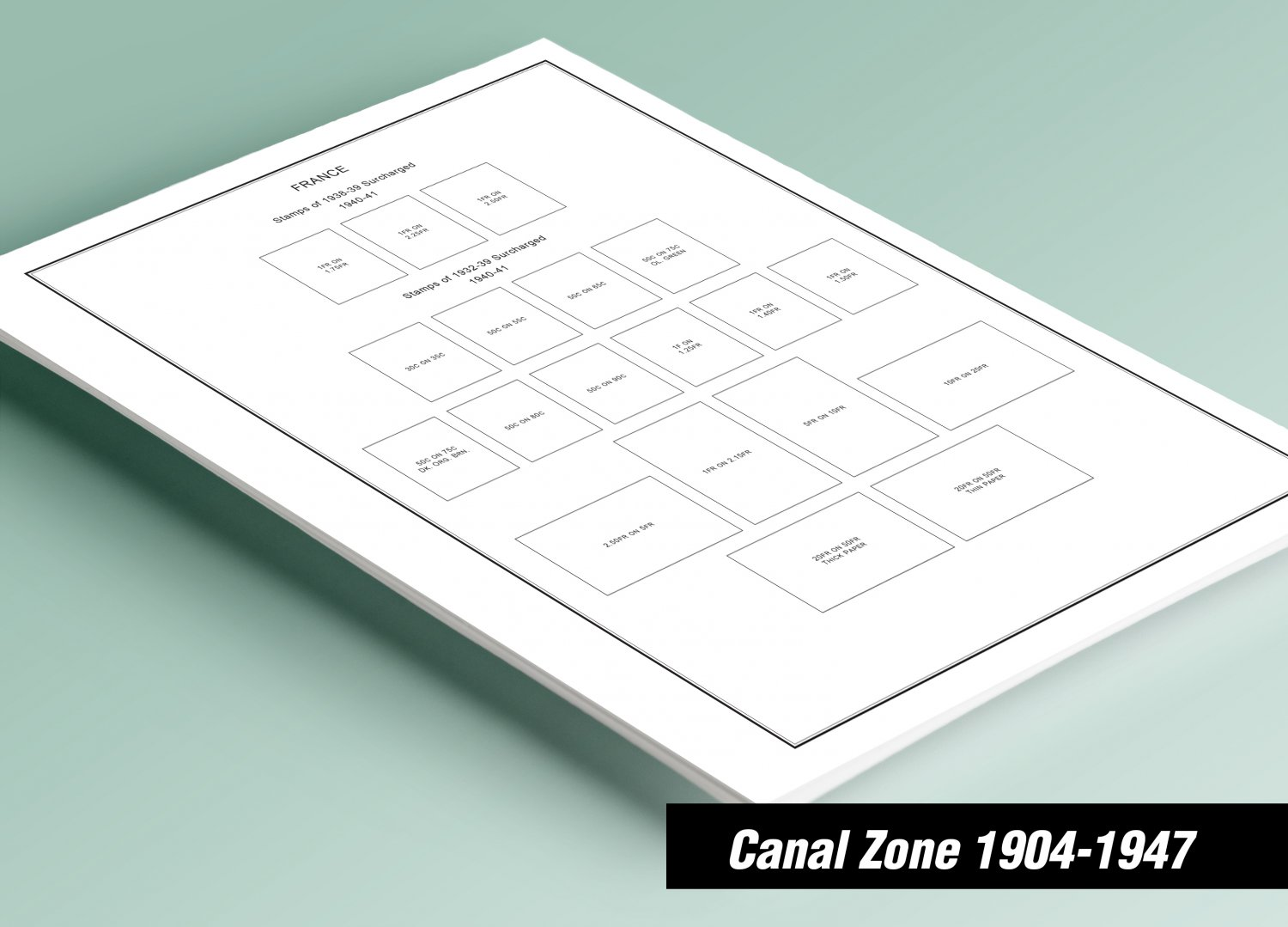 PRINTED CANAL ZONE 1904-1947 STAMP ALBUM PAGES (21 pages)