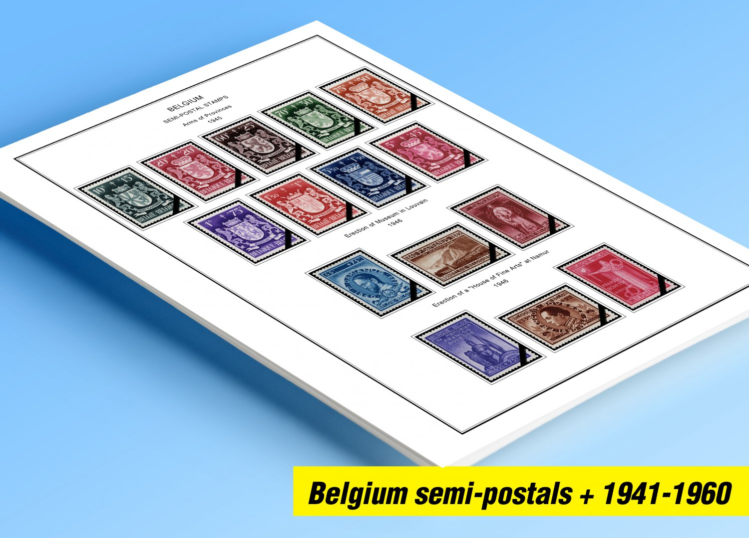 COLOR PRINTED BELGIUM SEMI-POSTALS 1941-1960 STAMP ALBUM PAGES (53 illustrated pages)