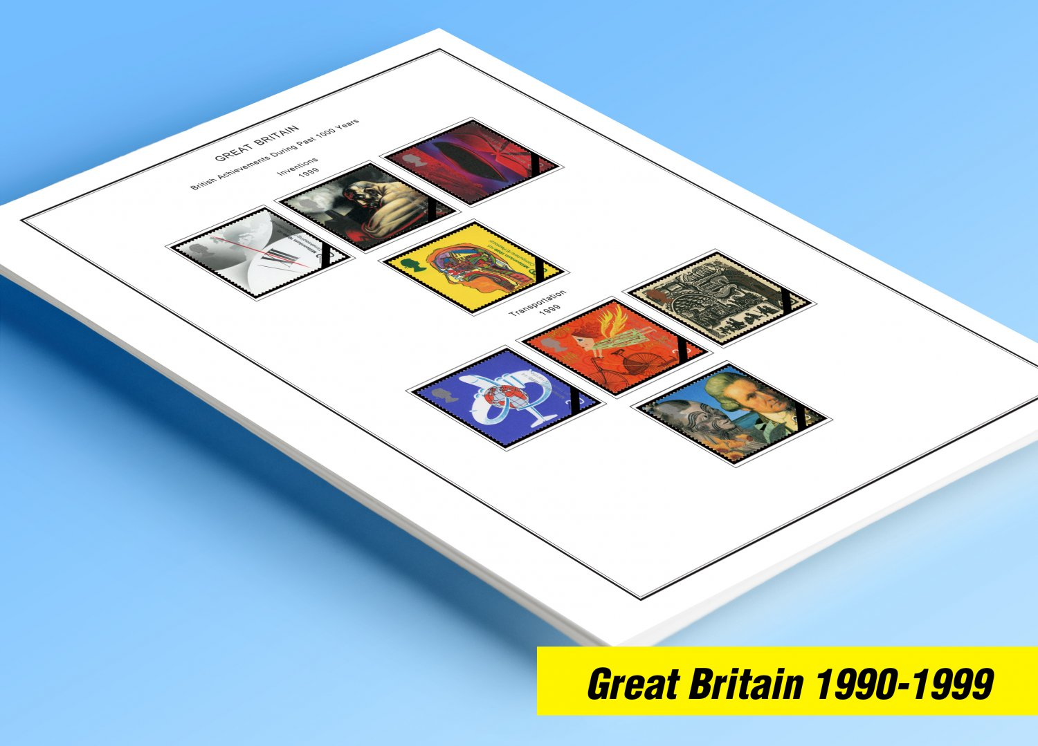 COLOR PRINTED GREAT BRITAIN 1990-1999 STAMP ALBUM PAGES (58 illustrated pages)