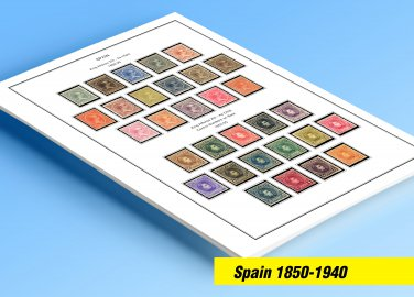 COLOR PRINTED SPAIN 1850-1940 STAMP ALBUM PAGES (42 illustrated pages)