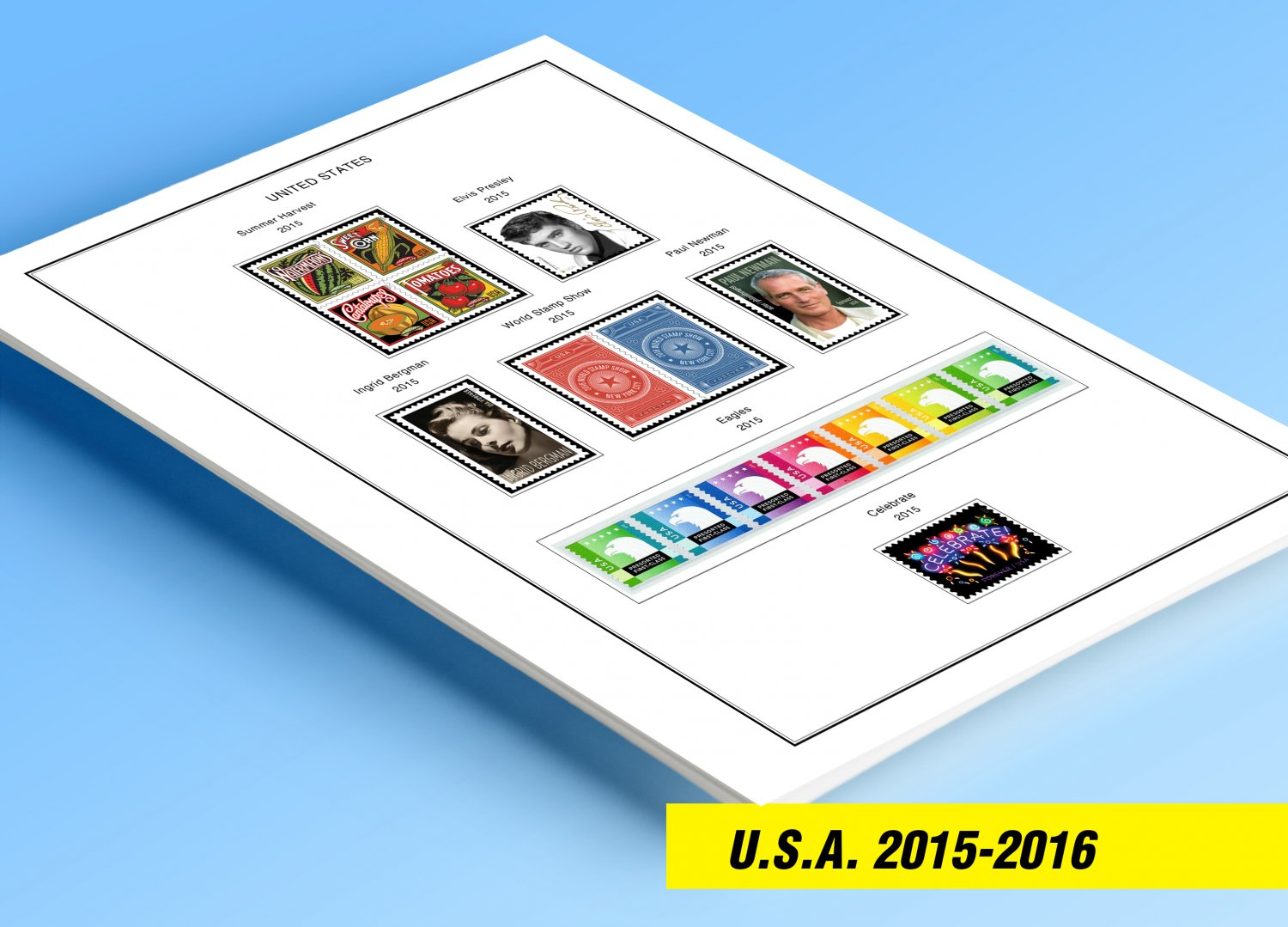 COLOR PRINTED U.S.A. 2015-2016 STAMP ALBUM PAGES (15 illustrated pages)