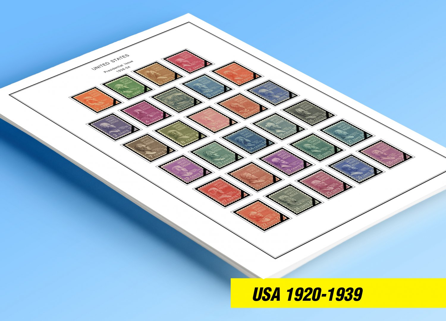 COLOR PRINTED U.S.A. 1920-1939 STAMP ALBUM PAGES (29 illustrated pages)