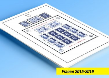 COLOR PRINTED FRANCE 2015-2016 STAMP ALBUM PAGES (65 illustrated pages)