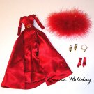 Red Charmeuse Evening Gown Ensemble