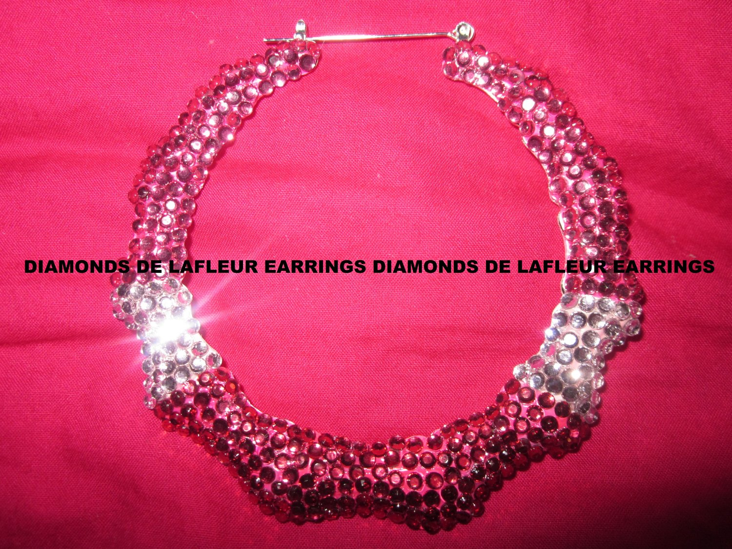 Crystal Bamboo Hoop Earrings Large Size