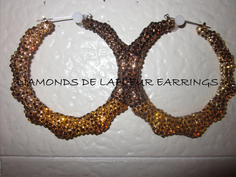 Swarovski Crystal Chocolate Truffles Bamboo Hoop Earrings Large Size