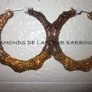 Swarovski Crystal Chocolate Truffles Bamboo Hoop Earrings Large Size