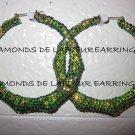Swarovski Crystal Cameleon Bamboo Hoop Earrings Large Size