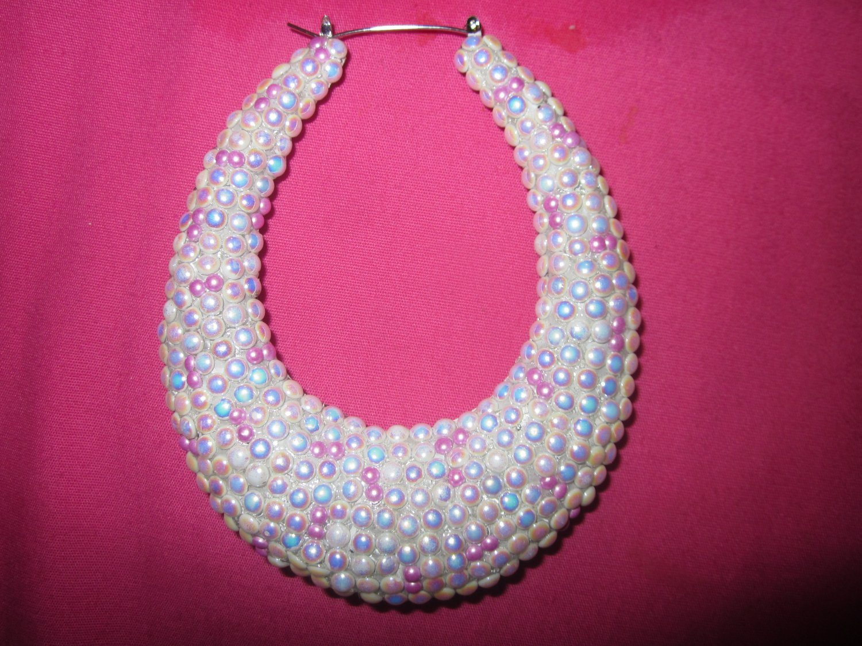 Crystal Pink Pearls Bamboo Teardrop Earrings Large Size like Basketball Wives