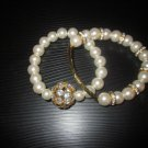 Swarovski Crystal ball and Pearl bracelet