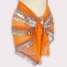 Orange Bellydancer Chiffon Hip Scarf 4 Lines