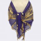 Purple Sheer Chiffon 4 Line Belly Dancing Hip Scarf 750 Coins