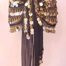 Gold Coin HipsScarf 5 Line Black Chiffon Belly Dancing