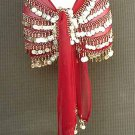 Red Chiffon Belly Dancing Hip Scarf 5 Line Gold