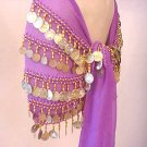 Lilac Belly Dance Hip Scarf 5 Line with Beads and Coins