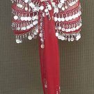 Maroon BELLY DANCER Costume hip Scarf 5 Line
