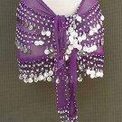 Purple Belly Dancer Dancing Costume Hip Scarf 3 Line Belt