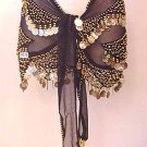 Black Shakira Belly Dance Wrap 3 Lines of Beads and Gold Coins