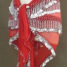 Gold Coin Red Belly Dancing Hip Scarf 4 Lines Beads and 750 Coins.