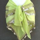 Egyptian Belly Dance Hip Scarf Parrot Green 3 Rows