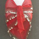 Red Belly Dance Hip Scarf 3 Rows