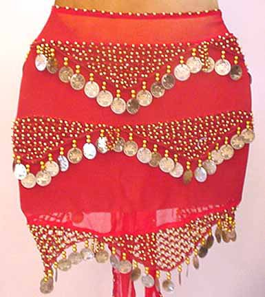 Red Shakira Belly Dance Wrap 3 Lines of Beads and Coins